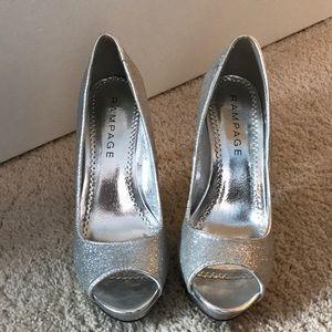 Rampage Silver Sparkle Heels